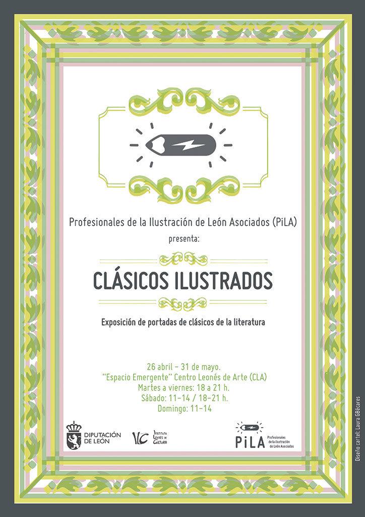"""Cartel """"Clásicos ilustrados"""" en el CLA, León"""