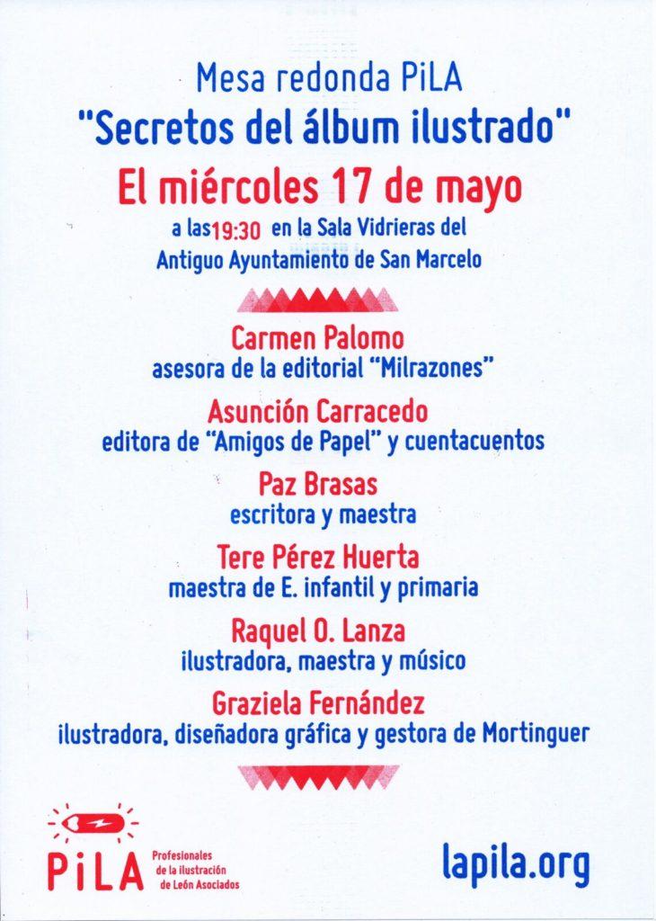 """Cartel Mesa redonda """"Secretos del álbum ilustrado"""" en Antiguo Ayto. de San Marcelo"""