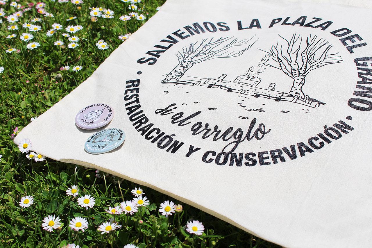 Detalle de Diseño de Bolsas y Chapas Salvemos la Plaza del Grano