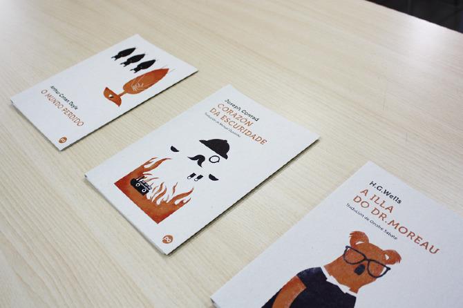 Detalle de ilustraciones para cubiertas de libros de Edicións Positivas