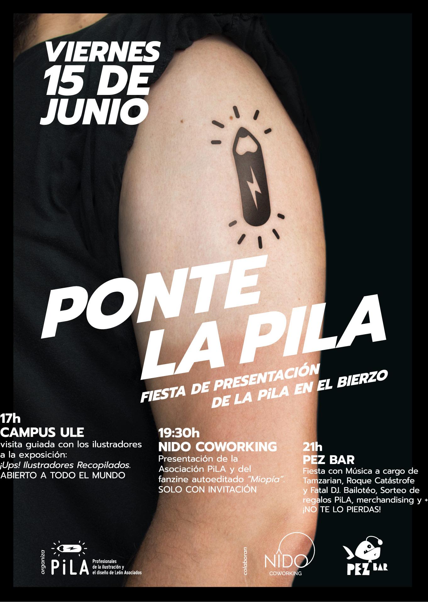 Cartel de la fiesta de presentación de la PiLa y Fanzine Miopía de la Asociación de ilustradores y diseñadores de León